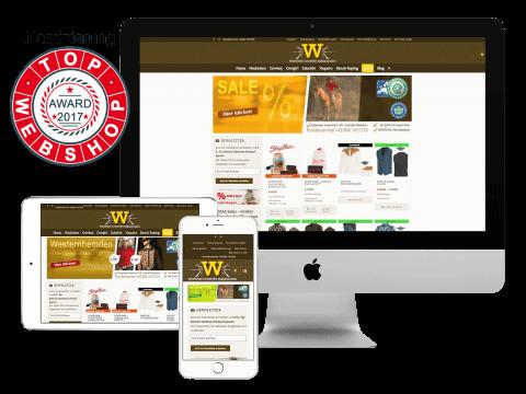 Nomierung Top of Webshop Award 2017 - Western Country Bekleidung Kärnten